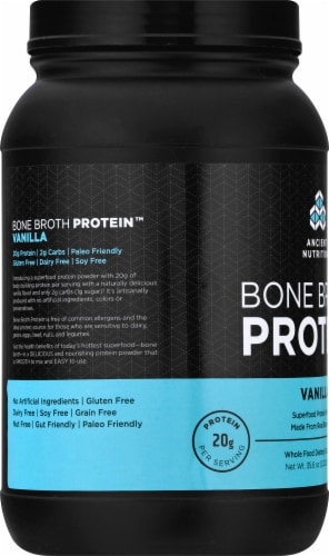 Ancient Nutrition Bone Broth Protein Vanilla Dietary Supplement Perspective: left