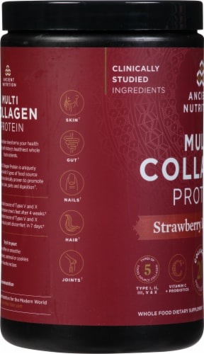 Ancient Nutrition Strawberry Lemonade Multi Collagen Protein Powder Perspective: left
