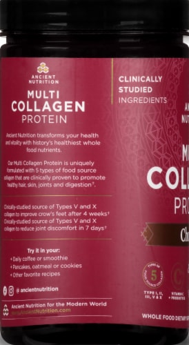 Ancient Nutrition Chocolate Multi Collagen Protein Perspective: left