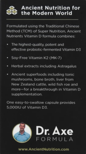 Ancient Nutrition Vitamin D Vitamin Capsules Perspective: left