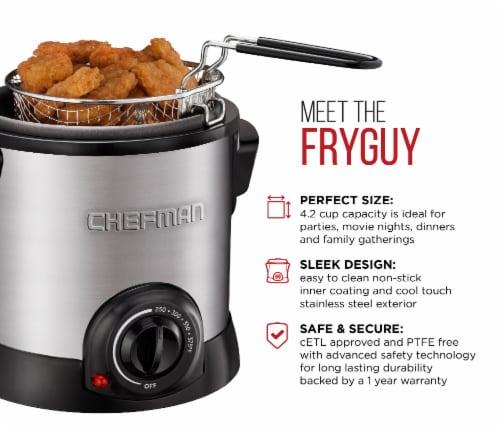 Chefman Fry Guy Deep Fryer - Silver/Black Perspective: left