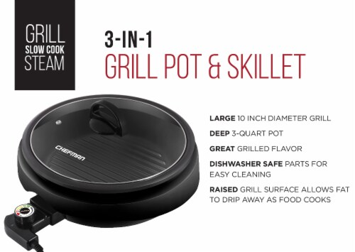 Chefman 3-in-1 Electric Grill Pot & Skillet Perspective: left