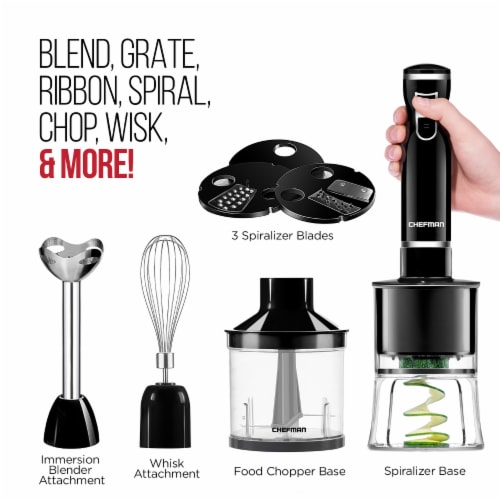 Chefman Electric Spiralizer & Immersion Blender 6-IN-1 Food Prep Combo Kit Perspective: left