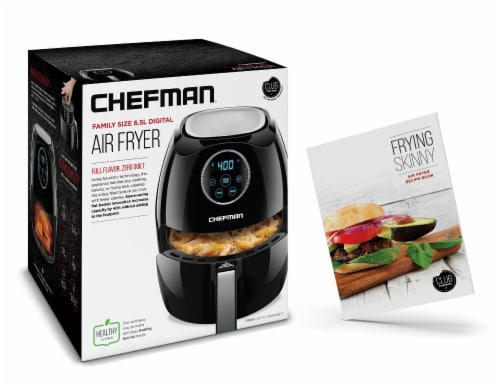 Chefman Digital Air Fryer with Flat Basket - Black Perspective: left