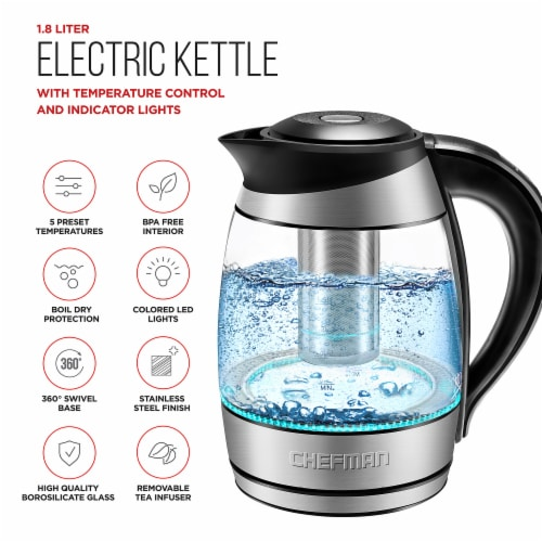 Chefman Electric Glass Kettle with Tea Infuser - Stainless Steel Perspective: left