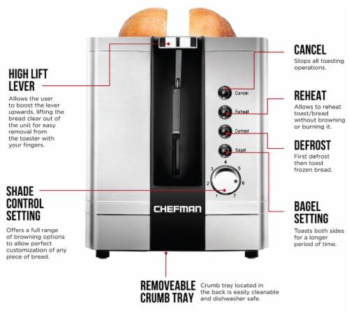 Chefman Stainless Steel 2-Slice Pop-Up Toaster Perspective: left
