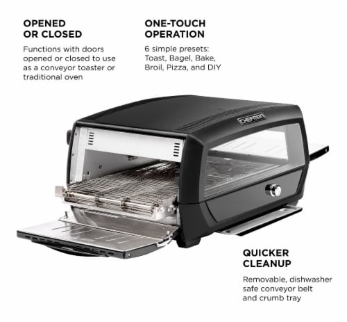 Chefman Food Mover Conveyor Toaster Oven - Black Perspective: left
