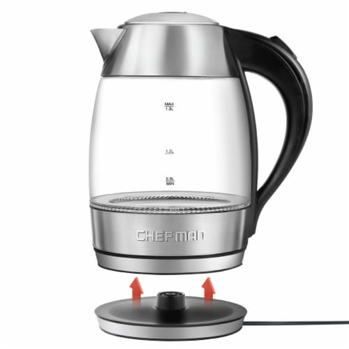 Chefman Electric Glass Kettle - Silver/Black Perspective: left