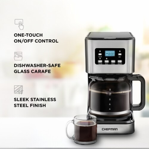 Chefman Square Stainless Steel Programmable Electric Coffee Maker - Silver Perspective: left