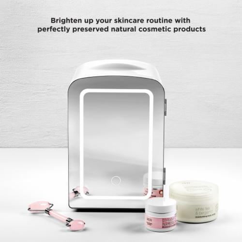 Chefman Portable LED Mirrored Mini Fridge - White Perspective: left