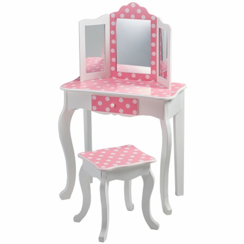 Fantasy Fields Kids Vanity Set Wooden Table with Mirror & Stool Pink TD-11670F Perspective: left