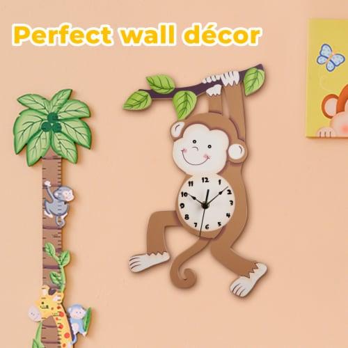 Kids Monkey Wall Clock Animal Themed Sunny Safari by Fantasy Fields TD-0081AR Perspective: left