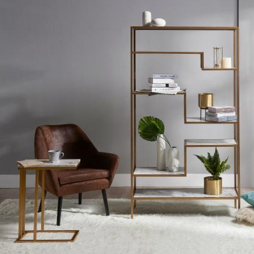 Versanora Wooden Bookcase Book Shelf Storage Unit Marble Marmo VNF-00035 Perspective: left