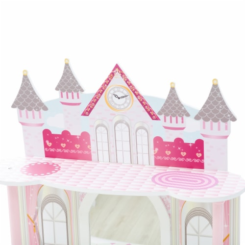 Fantasy Fields Kids Vanity Set Castle Table With Mirror & Stool White TD-12951A Perspective: left