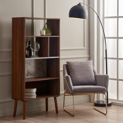 Versanora Wooden Bookcase Bookshelf 4 Tier Faux Marble Walnut Kingston VNF-00078 Perspective: left