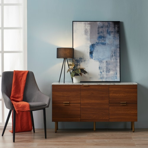 Versanora Wooden Sideboard With Faux Marble Top & Walnut Legs Ashton VNF-00081 Perspective: left