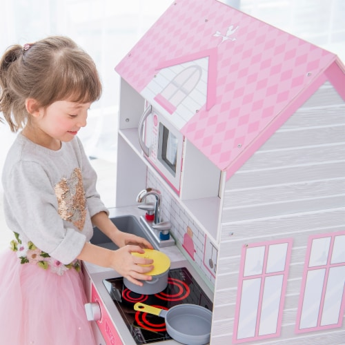Teamson Kids 'Wonderland' Children's 2 in 1 Doll House & Play Kitchen TD-12515P Perspective: left