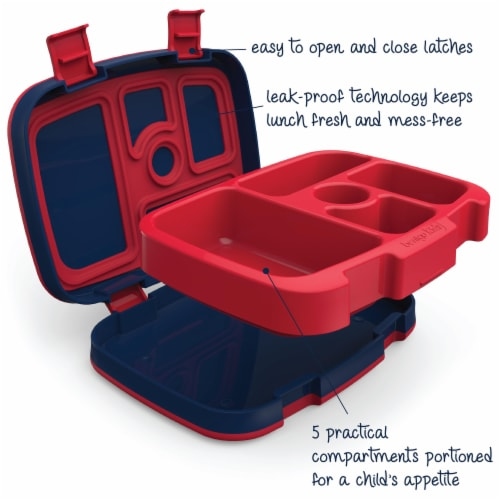Bentgo Kids Durable & Leak Proof Rocket Children's Lunch Box - Red/Navy Perspective: left