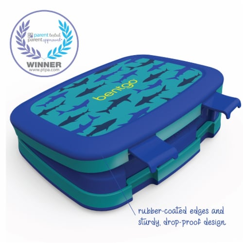 Bentgo Kids Durable & Leak Proof Shark Children's Lunch Box - Blue Perspective: left