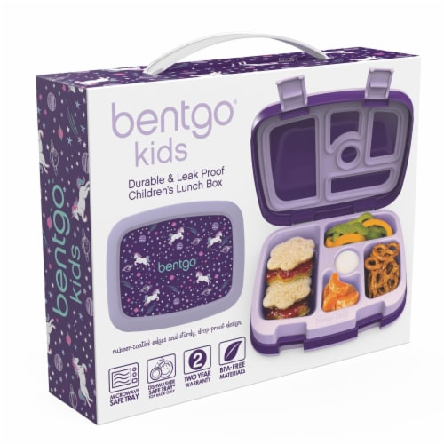 Bentgo Kids Durable & Leak Proof Unicorn Children's Lunch Box - Purple Perspective: left