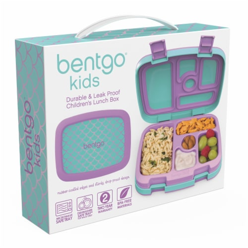 Bentgo Kids Durable & Leak Proof Mermaid Scales Children's Lunch Box - Aqua Perspective: left