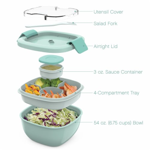 Bentgo Salad On-The-Go Food Container - Coastal Aqua Perspective: left