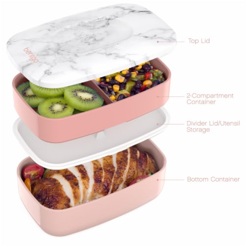Bentgo Classic On-The-Go Food Container - Blush Marble Perspective: left
