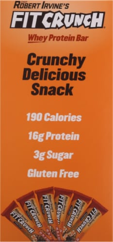 Robert Irvine's Fit Crunch Caramel Peanut Whey Protein Bars Perspective: left
