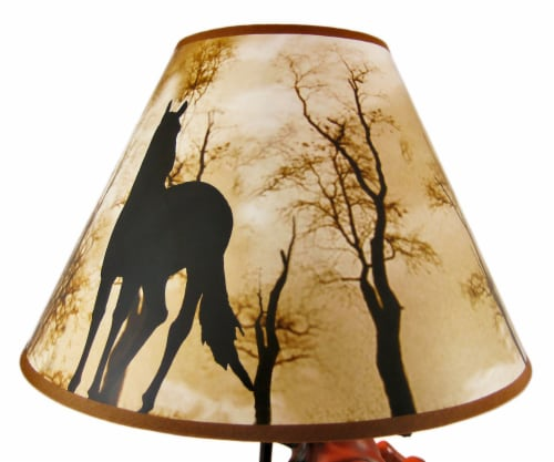 Brown Stallion Horse Table Lamp W/ Nature Print Shade Perspective: left