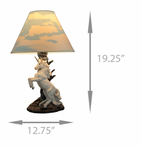 White Rearing Unicorn Table Lamp with Cloud Print Shade Perspective: left