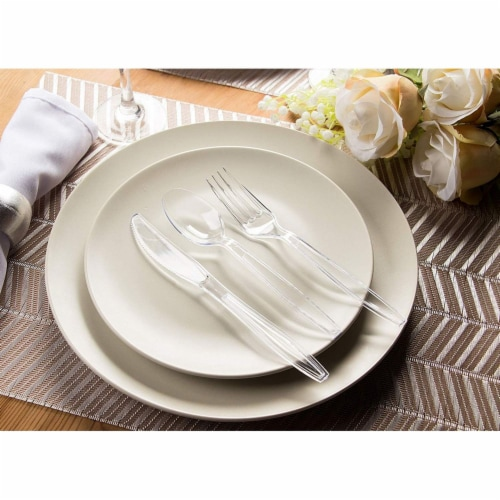 Juvale 80-Piece Clear Disposable Plastic Cutlery Set, BPA Free and Food Grade Perspective: left