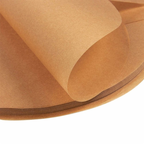 Parchment Paper Rounds with Lift Tabs (Brown, 8 In, 100-Pack) Perspective: left