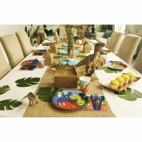 Dinosaur Party Dinnerware Set, Plates, Cutlery, Cups, and Napkins (Serves 24, 144 Pieces) Perspective: left