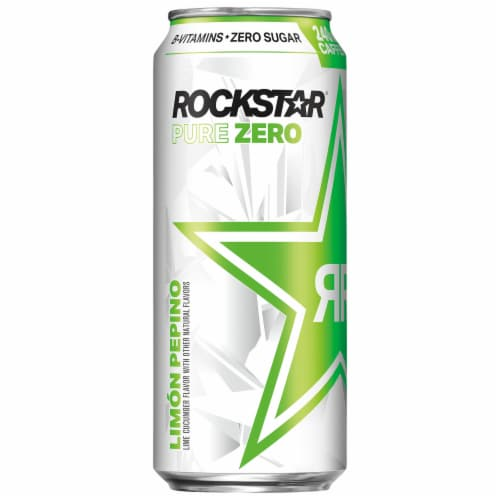 Rockstar Pure Zero Lime Cucumber Sugar Free Energy Drink Perspective: left