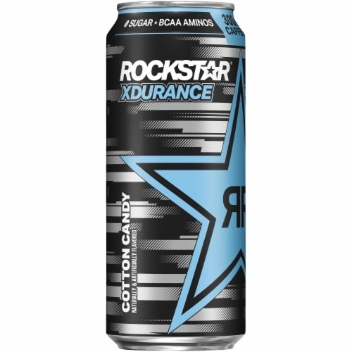 Rockstar XDurance Cotton Candy Energy Drink Perspective: left