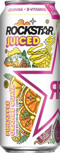 Rockstar Juiced Pineapple Orange Guava Energy Drink Perspective: left