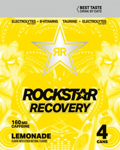 Rockstar Recovery Lemonade Energy Drink Perspective: left