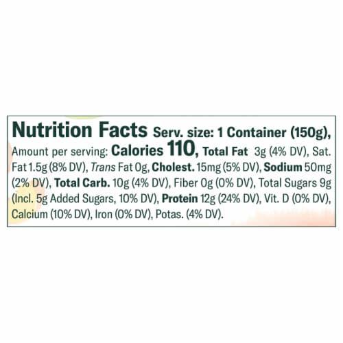 Chobani Less Sugar Clingstone Peach Greek Yogurt Perspective: left