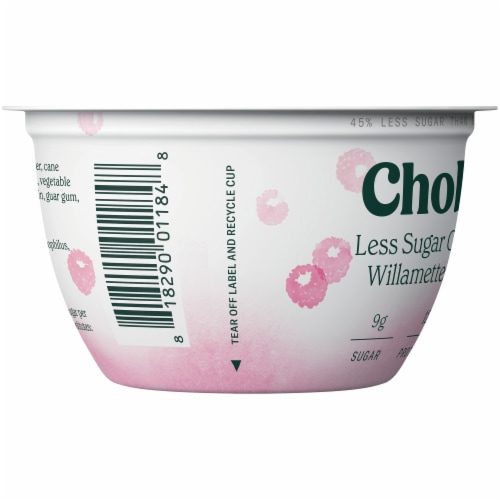 Chobani Willamette Raspberry Less Sugar Greek Yogurt Perspective: left