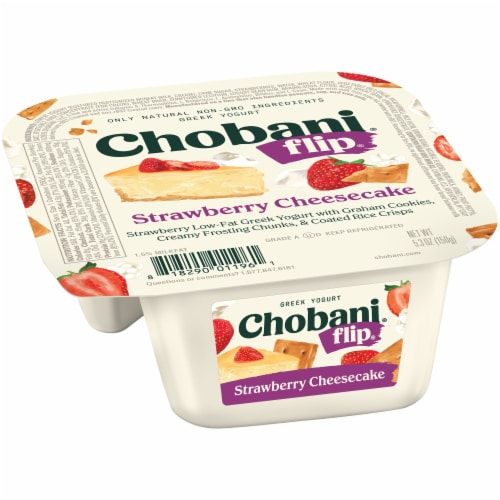 Chobani Flip Strawberry Cheesecake Low Fat Greek Yogurt Perspective: left