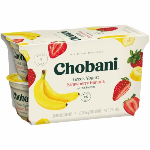 Chobani Strawberry Banana on the Bottom Low-Fat Greek Yogurt Perspective: left
