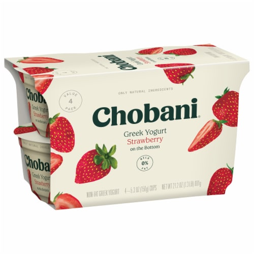 Chobani Strawberry on the Bottom Non-Fat Greek Yogurt 4 Count Perspective: left