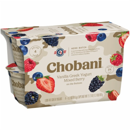Chobani Mixed Berry on the Bottom Low Fat Vanilla Greek Yogurt Perspective: left