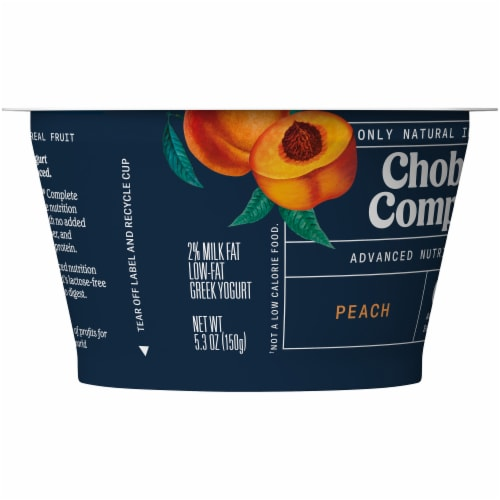 Chobani Complete Peach Lactose-Free Yogurt Perspective: left
