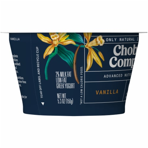 Chobani Complete Vanilla Advanced Nutrition Greek Yogurt Perspective: left