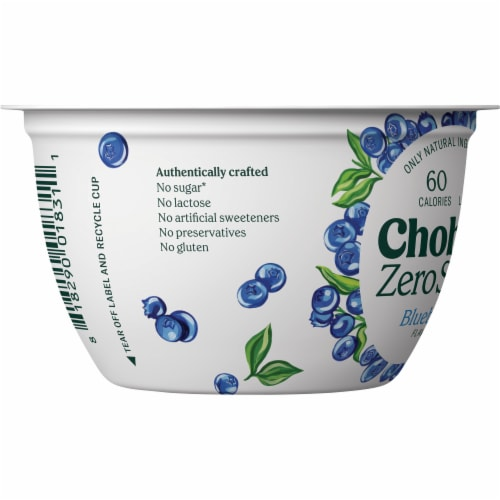 Chobani® with Zero Sugar Blueberry Greek Yogurt Perspective: left