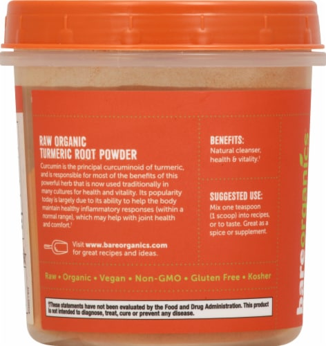 BareOrganics Turmeric Root Powder Dietary Supplement Perspective: left