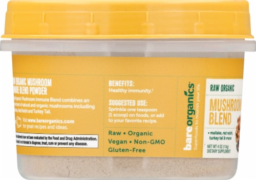 BareOrganics Raw Mushroom Immunity Blend Supplement Perspective: left