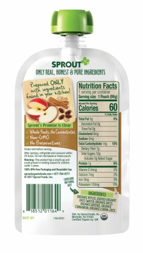 Sprout Organic Apple Oatmeal Raisin with Cinnamon Stage 2 Baby Food Perspective: left