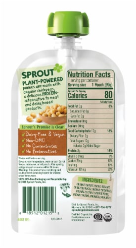 Sprout Organic Carrot Chickpeas Zucchini Pear Stage 2 Baby Food Perspective: left